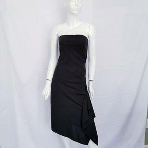 Cache Dress Size 4 Strapless Black Asymmetrical